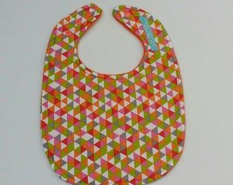 Geometric Print Orange Accent Bib, Modern Full Bib, Toddler Bib, Feeding Bib, Full-cover Bib