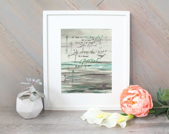 Watercolor Brush Lettering, Face of An Arrow Isaiah 49:2 Scripture Watercolor Print, Nursery Bible Verse