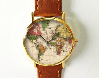 World map watch etsy world map watch leather watch women watches boyfriend watch world map gumiabroncs Image collections