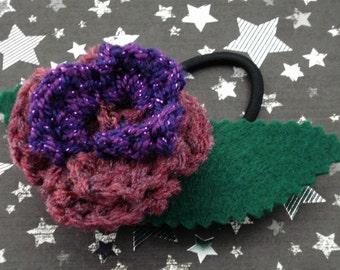 Martha Jones - Crocheted Rose Ponytail Holder or Bracelet - Dark Pink and Purple (SWG-HP-DWMJ01)