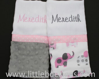 Personalized Minky Burp Cloth Set - Pink and Gray Elephants with Gray Minky