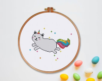 Cat Unicorn cross stitch pattern, funny nursery baby animal counted cross stitch design, instant download pdf easy diy decor for beginners