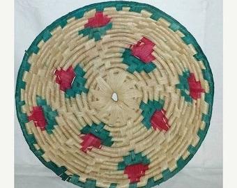 Vintage Hand Woven Coil Wall Basket,Woven Coil Bowl Basket, Boho, Boho Wall Basket, Woven Rose Design Basket, Large,10 Diameter,Red,Rosebud