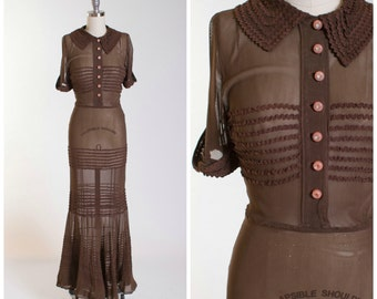 1930s Vintage Dress Brown Rayon Sheer Mesh Fitted Vintage 30s Gown with Mermaid Hem Size Small