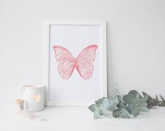 Papillons  rose, noir et or - Téléchargement numérique , deco mural , chambre enfant