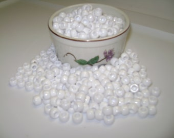 "6 x 9mm ""White"" Plastic Pony Beads!! 50, 100, 150, 200 etc...up to 500 Beads.!!"