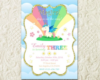 Rainbow Unicorn Birthday Party Invitation, Horse Birthday Invite, Pink and Gold Glitter Invitation, Magical Birthday Party Invitation