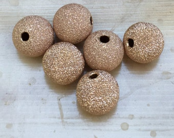 Rose Gold Beads - 10mm Stardust sparkly 14k rose gold filled accent bead - ONE BEAD from my collection - 2mm holes - G946
