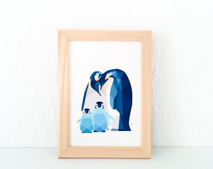 Penguin family art, Penguin babies, Toddler nursery art, Animal family art, Baby nursery decor, Geometric penguin, Baby animal art, Brothers