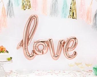 Love Balloon - Giant Love Script Balloon - Rose Gold Love Balloon - engagement balloon - valentines balloon