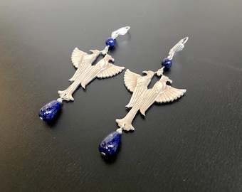 Egyptian Falcon Earrings With Lapis