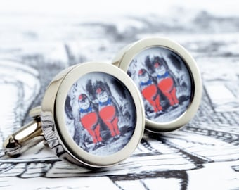 Tweedle Dum and Tweedle Dee Cufflinks from Alice in Wonderland for Romance, Weddings and Grooms PC611