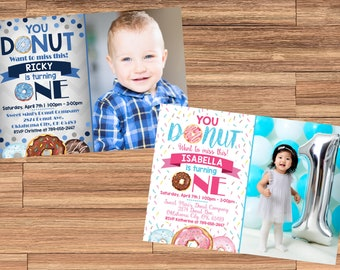 Boy OR Girl DONUT Birthday Invitation with Photo! You Choose! You Donut want to miss this! Digital File, Print at Home.
