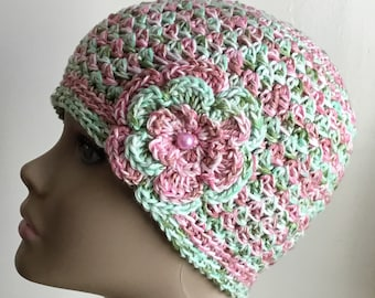 Women's crochet hat, summer / spring, COTTON, chemo hat, pink, green varigated yarn,  removable flower, Ready to ship.  S8