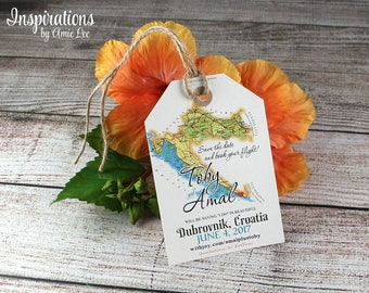 Save the Date Luggage Tags, luggage tag, save the date, wedding invitation, Croatia Wedding