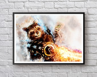 Guardians of the Galaxy Baby Groot Rocket Raccoon Movie Poster, Art Print Kids Decor Watercolor Contemporary Abstract Drawing Print Man Cave
