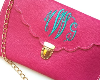 Monogrammed Scalloped Envelope Clutch with Gold Chain Crossbody Strap Personalized Purse Gift for Her