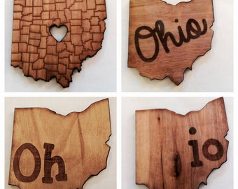 Ohio Love 4 Pack Etched Wood Coasters