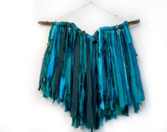 Blue Recycled Sari Silk and Driftwood Wall Hanging