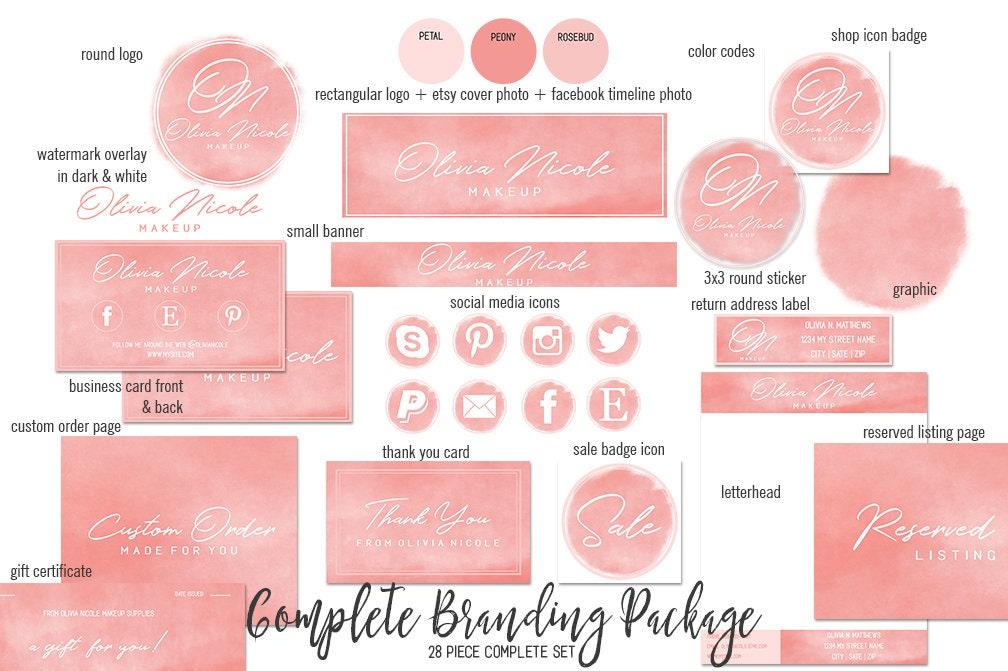 PEACH WATERCOLOR Etsy Shop Set Modern Branding Package Minimal Girl ...