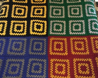Harry Potter Houses Crocheted Afghan