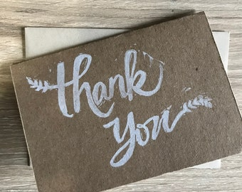 Thank You Cards - Handprinted Cards - Greeting Cards with Envelopes - Handmade Thank You Cards - Rustic Thank You Card - Rustic Card