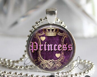 Purple Couture Princess Glass Tile Pendant Necklace, Silver Bezel Jewelry