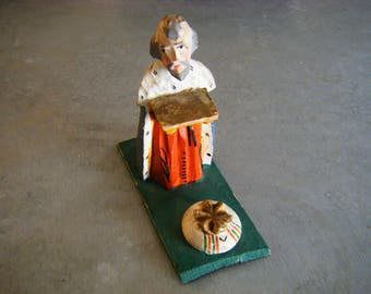 Old Small Carved Wooden Santo King Wiseman - Creche