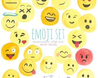 Watercolor Clip Art Emoji Set, Smart Phone, Emotions, Smiley Face, Sad, Mad, Angry, Winking, Silly, Emotional, Stickers, Heart Eyes, Love