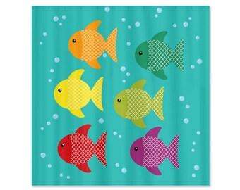 Fish School Kids Shower Curtain - Children's Bathrooms, Children's Decor, Fish
