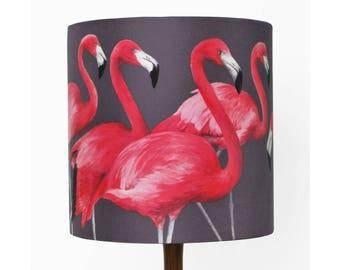 Flock of Flamingos Lampshade [small] - handmade silk shade