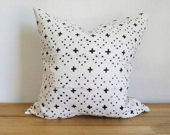 Baum Kissen-Abdeckung, Off-White/Creme, kleine Plus Kreuz, Punkten, Diamant, geometrische