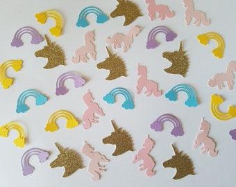 Unicorn Confetti Set of 100 - Unicorn Party, Unicorn Birthday, Rainbows, Unicorn Party Decor