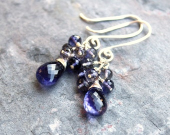 Iolite Cluster Earrings Blue Gemstone Earrings Sterling Silver Teardrops Beaded Earrings