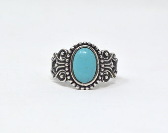Vintage Designer Avon Bright Turquoise Sterling Silver Scroll Ring - Size 10.25 - 591600812