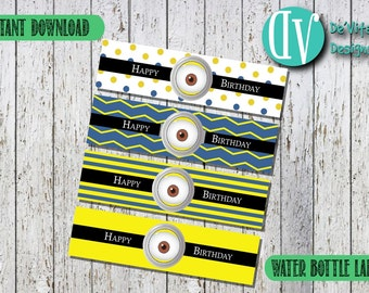 Minions Water bottle labels | Minions birthday decoration | Minions Water Bottle Labels Printable | Printable | Instant Download