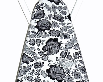 Ironing Board Cover - Floral fabric in dove grey and black - Laundry and Housewares - Housewarming Birthday party - Sewing Room Kitchen