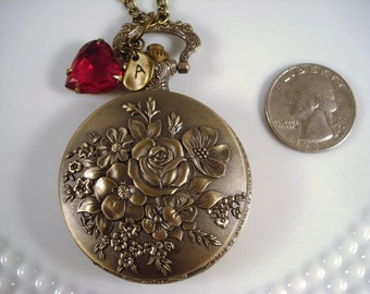 Rose Pocket Watch Necklace Victorian Inspired Pocket Watch Jewelry Heirloom Gift