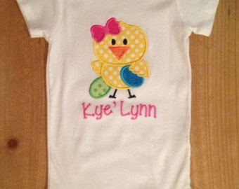 Easter Chick Embroidered Shirt or Baby Bodysuit
