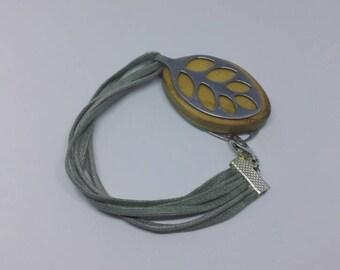 Bellabeat bracelet with six strand cotton cord strap to use with Bellabeat Leaf-Boho leaf bracelet- leaf anklet