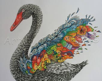 Black Swan-Doodles, limited edition, Doodle Art, pictures, drawing, surreal, coloured, animals, print, swan