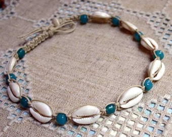 Hemp Necklace with Cowrie Shells and Teal Blue Glass Beads