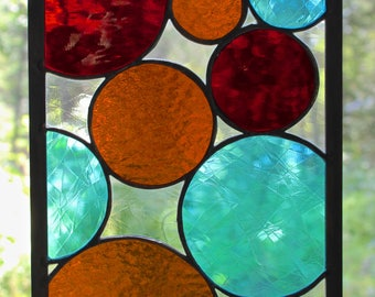 Handcrafted Stained Glass Art Multi-Colored Bubbles