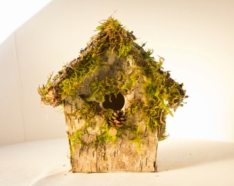 Pretty little fairy house with moss and bark, rustic bird house