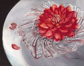 "Watercolor Print ""Dahlia in a Crystal Bowl"" by Sandi McGuire"