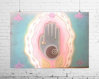 Mother's Day | Healing Hand | Birth Art | Fertility Art | Gifts for Midwife | Original Framed Chalk Pastel Art | Spiritual Art | Feminine