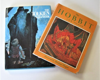 "2 Vintage J.R.R. Tolkien books, ""The Hobbit"", illustrated by Michael Hague, ""The Tolkien Scrapbook, classic literature, fantasy, gift idea"