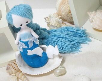 Opaline, mermaid doll, fabric doll, rag doll, blue siren