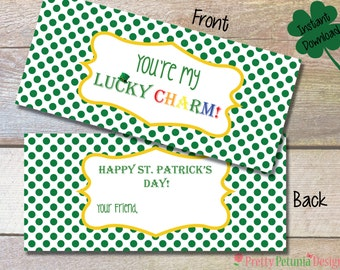 Instant Download - Lucky Charm St. Patrick's Day Bag Topper - Printable - Fill in your name!