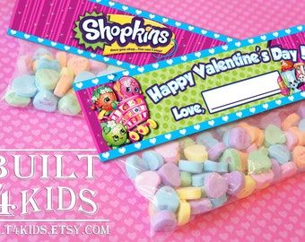 Shopkins Valentine's Day Toppers/ Instant download/ Digital/ Cards